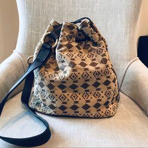EAL Boho Tribal Leather Bucket Bag